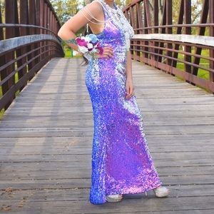Mermaid Purple Sequin Halter Dress